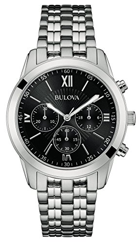 (Bulova Classic Sports Men's Quartz Watch with Black Dial Chronograph Display and Silver Stainless Steel Bracelet 96A175)