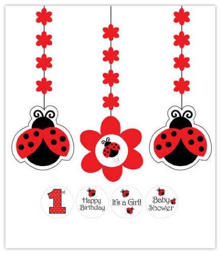 Creative Converting 3-Piece Hanging Decorations with Stickers, Ladybug Fancy - -