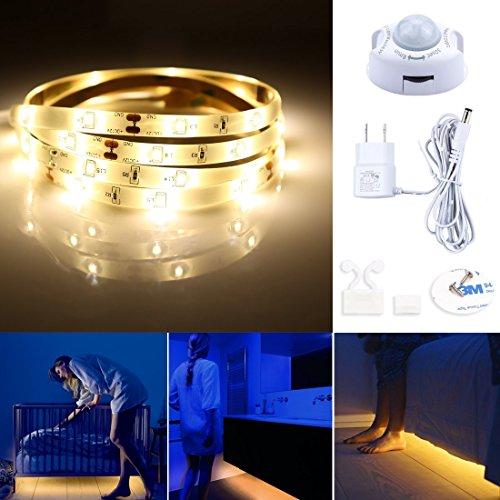 Rope Corner - Motion Activated Bed Light,LED Motion Sensor Bedside Light Strip 1.2M,Warm White 3000K,Waterproof LED bed light for Under Cabinet, Under Bed, Hallway, Dark Corner Accent Lighting(1 pack)