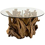 Kathy Kuo Home Plymouth Coastal Beach Teak Driftwood Round Glass Coffee Table