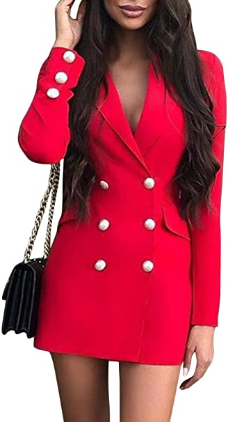 Tomwell Blazer Kleid Damen Elegant Business Blazer Kleider Anzug Zweireihig Langarm V Ausschnitt Bodycon Minikleid Mit Knopf Mode Jacke Mantel Amazon De Bekleidung