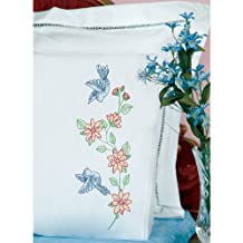 Stamped Pillowcases W/White Lace Edge 2/Pkg-Birds