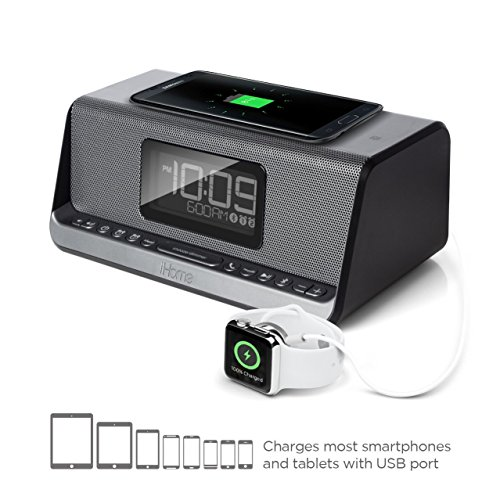 iHome iBN350 NFC Bluetooth Stereo Dual Alarm Clock with Speakerphone, Qi Wireless Charging for iPhone 8/8Plus and iPhone X with USB Out Charging for Any USB Device