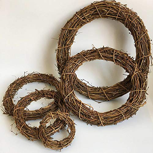 aoory Natural Grapevine Wreath Base Heart Shape Rattan Wreath DIY Crafts for Wedding Party Door Garland Home Hanging Decor 6Pcs