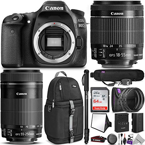 Canon EOS 80D DSLR Camera with EF-S 18-55mm f/3.5-5.6 is STM