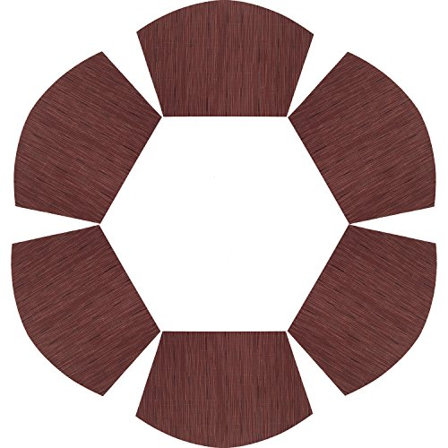 PAUWER Round Table Placemats Vinyl Wedge Placemat Set of 6 for Kitchen Table Heat Insulation Stain-resistant Washable Placemats for Round Table (Set of 6, Red)