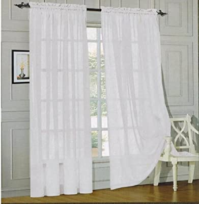 Elegant Comfort® 2-Piece SHEER PANEL with 2inch ROD POCKET - Window Curtain Treatment, All Sizes and Many Colors Available