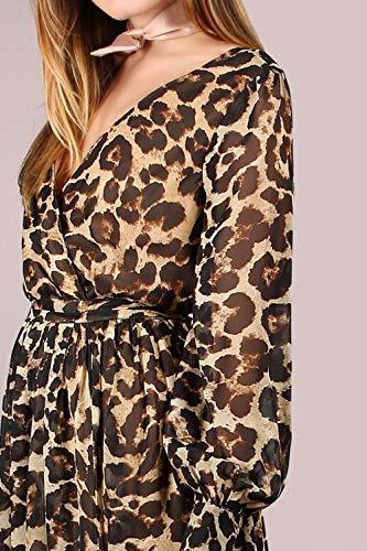 Vestido Vestido De Elegante Primavera Manga Otoño Maxi Mujer Fasumava Chiffon Leopardo 0xPd7qq