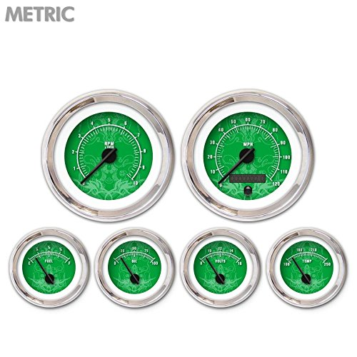 Aurora Instruments GAR290ZMXRABCC Tribal Green 6-Piece Gauge Set