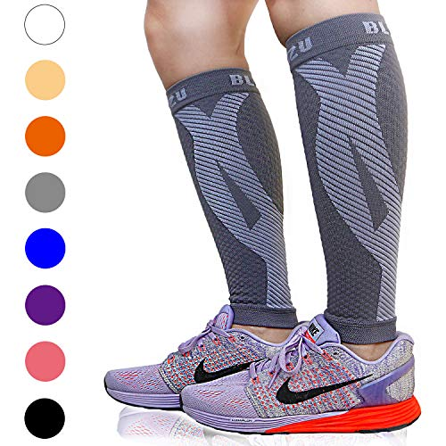 BLITZU Calf Compression Sleeve Leg Performance Support for Shin Splint & Calf Pain Relief. Men Women Runners Guards Sleeves for Running. Improves Circulation and Recovery (Gray, Small/Medium)