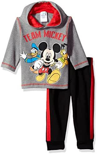 Disney Boys' 2-Piece Mickey Mouse Thermal Top and Fleece Jogger