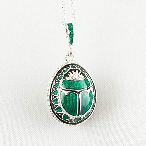 (Scarab Necklace Green Pendant for Women Jewelry Scarab Enameled Sterling Silver Charm Necklace Birthday Gift )