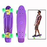 Toy Cubby Skateboard - 22 inch Retro Style Cruiser Banana Board - Durable Purple Plastic Christmas Gift, Holiday Fun, Outdoor Play. and much more!