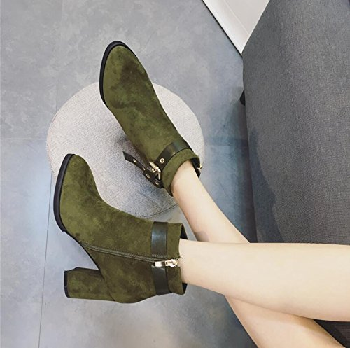 KHSKX-Green 7Cm Korean Version Of The Thick With Martin Boots Winter New Tip Satin Rivets Belt Clip Side Zip High-Heeled Boots 38 VINb6AU4