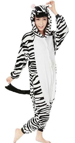 94a6447e86 Nicetage Adult Onesie Unisex Animal Pajamas One Piece Cosplay Costume  Halloween Party Wear (Cosplay Zebra