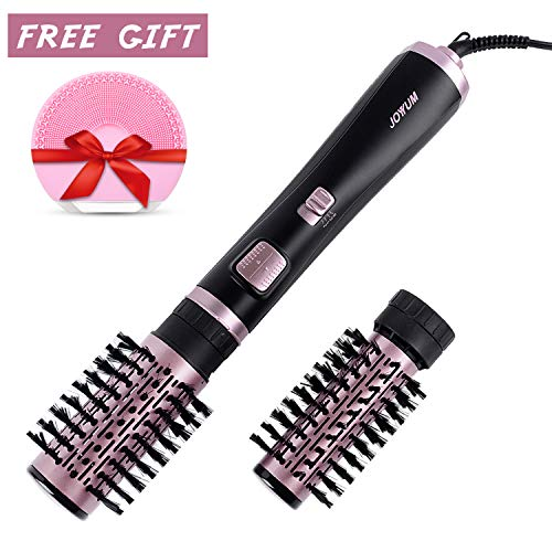 JOYYUM 1000W 2-in-1 Hot Air Spin Brush Styler Auto-rotating Negative Ionic Hair Curler Dryer Brush, 1 1/2 Inch and 2 Inch Brush Attachments, Lavander Fog