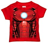 Marvel Little Boys' Toddler Iron Man T-Shirt, Mesh Face Red, 3T