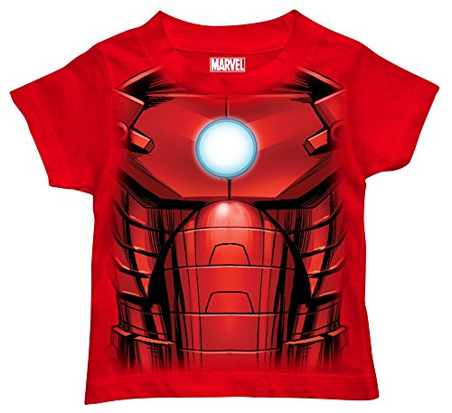 Toddler Superhero Shirts (Marvel Boys' Toddler Boys' Iron Man T-Shirt, Mesh Face Red, 4T)