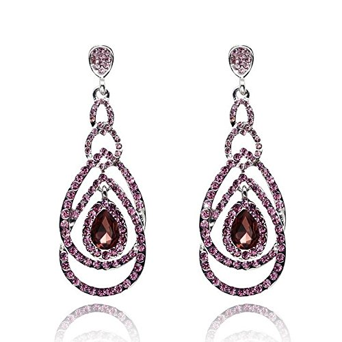 Cute Hollow Crystal Rhinestone Teardrop Connection Long Dangle Earrings for Women Fashion Strand Jewelry (Style03)