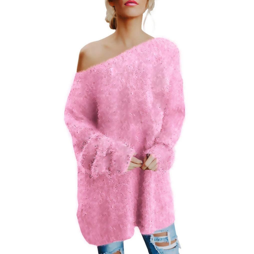 Pandaie Women Jacket,Women Long Sleeve Sexy Off Shoulder Sweater Faux Fur Blouse Top Dress PK/XL