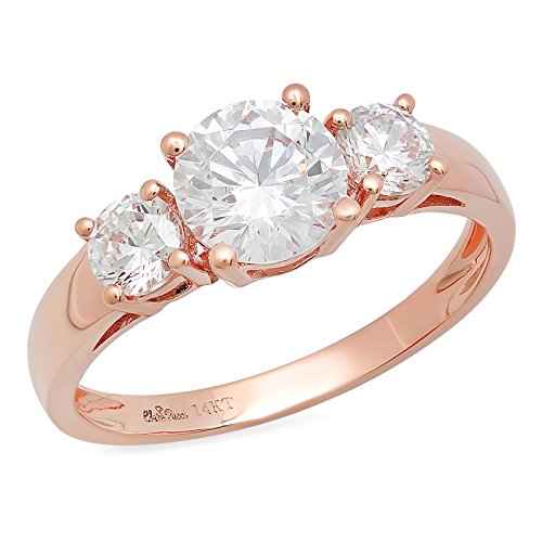 (Clara Pucci 1.4 CT Round Cut Solitaire Three Stone Ring 14K Rose Gold Engagement Wedding Band, Size 5.5)