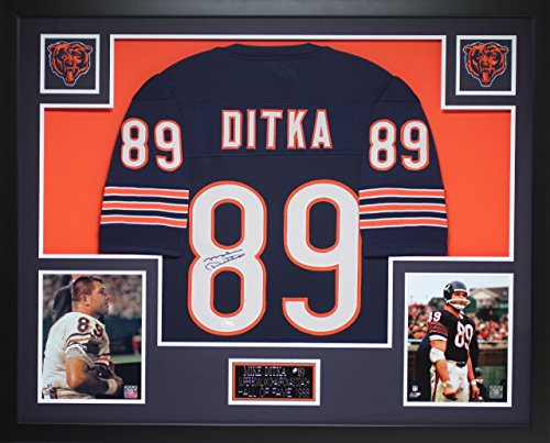 Signed Mike Hand Ditka - Mike Ditka Autographed Navy Bears Jersey - Beautifully Matted and Framed - Hand Signed By Mike Ditka and Certified Authentic by JSA COA - Includes Certificate of Authenticity