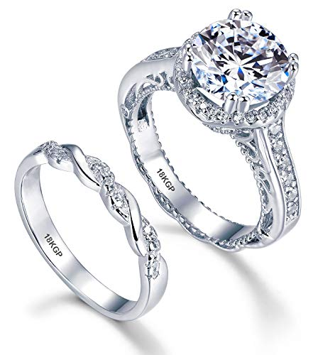 AndreAngel Wedding Rings Set Engagement 2 pcs Women White Gold 18K GP 6 mm 0.75 Carat Cubic Zirconia Lab Diamonds AAAAA 32 Stones Round Cut Bridal Marriage Promise Valentine's - Wedding White Gold Ring 18k