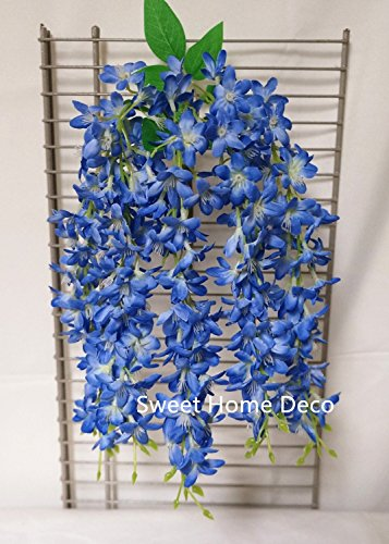 Sweet Home 22 Hanging Wisteria Silk Artificial Flower Bush (5 Stems) for Wedding/home/party Decorations (Blue)