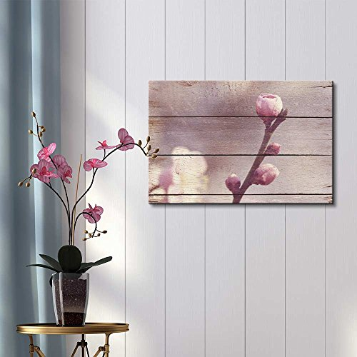 Buds of a Blossoming Tree Rustic Floral Arrangements Pastels Colorful Beautiful Wood Grain Antique