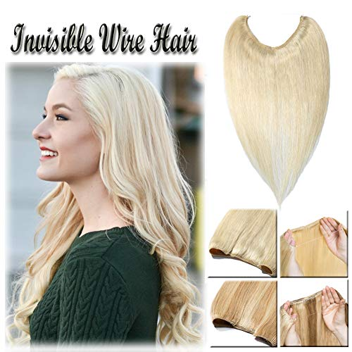 16-22inch Highlighted Flip on Human Hair Extensions Hidden Wire Crown in Hairpiece Secret Translucent Fish Line No Clip Miracle Headband - 22