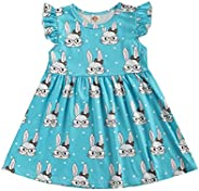 Bagilaanoe Easter Toddler Girls Outfits Sleeveless Bunny Dresses for Toddler Girls Easter Clothes 1-6T