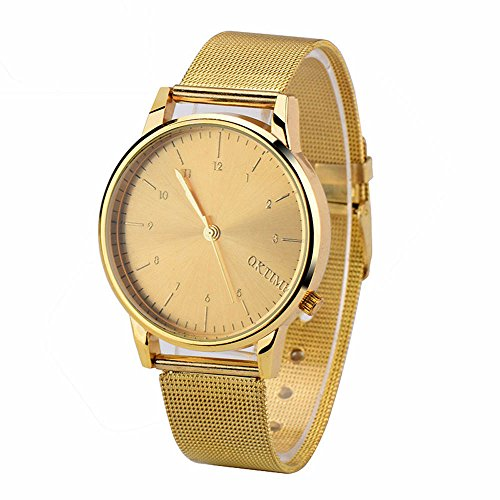 Mens Metal Watch,Hosamtel Male Boys Business Casual Analog Wrist Watch for Men C21 - Gold C21