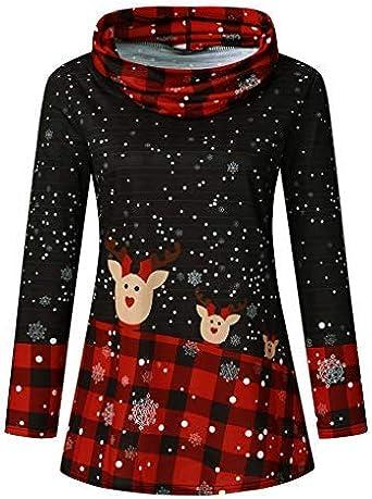 Fossen MuRope Sudadera Navidad Mujer Camisa Invierno - Jersey Suéter de Navidad para Mujer Impresión de Alces - Vestido Hoodies Largas Chica Larga