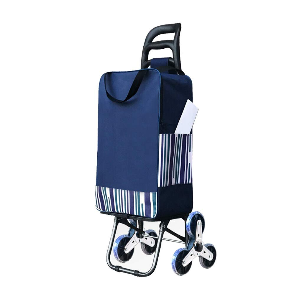 ショッピングカート、トロリードリー多機能食料品折りたたみピクニックビーチ - 簡単に階段、両親へのプレゼント、3色 (色 : 青)  青 B07QQP31N6
