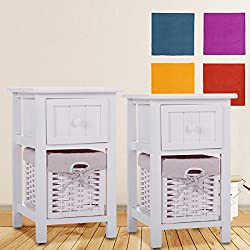 LAZYMOON Pack of 2 White Chic Nightstand Cute End Side Table Children Bedroom Bedside Home Furniture