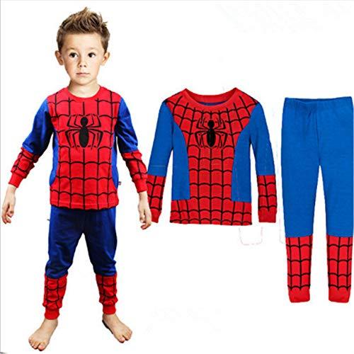 Boys Pajamas Sets Children Christmas Pants 100% Cotton Spider-Man Long Kids Snug Fit Pjs Winter Toddler Sleepwear (Red, 7T)]()