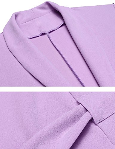 etuoji Women Waffle Dressing Down Bathing Robe for Spa Hotel Sleepwear(Light Purple,Size XL) by etuoji (Image #5)
