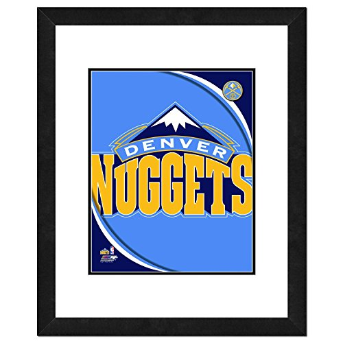 (NBA Denver Nuggets Team Logo Double Matted & Framed Photo, 22.5