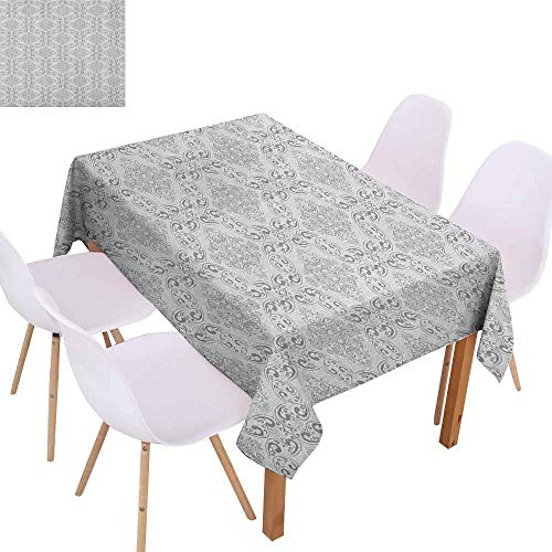 - Marilec Rectangular Tablecloth Grey Victorian Antique Tile Pattern with Royal Curlicues Old Rich Scroll Regency Motifs Table Decoration W59 xL71 Grey Pale Grey