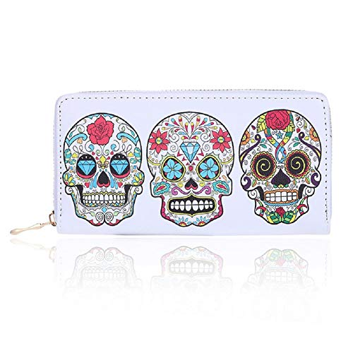 Badiya 3 Pretty Sugar Skull Wallet for Women Vintage Clutch -