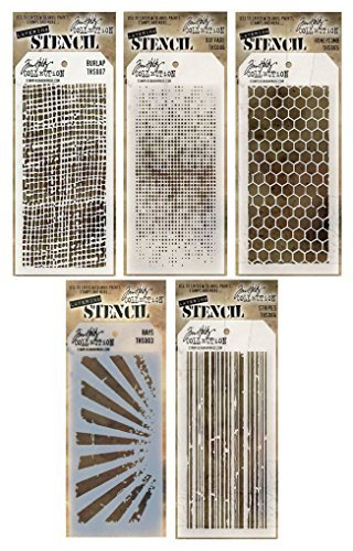 Tim Holtz - Stencils Set 4 - Five Item Bundle - Dot Fade, Rays, Honeycomb, Burlap, and Stripes by Tim Holtz