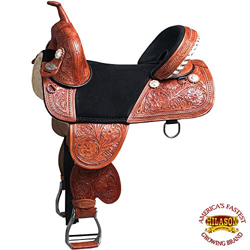"HILASON 13"" 14"" 15"" 16"" 17"" 18"" Child TREELESS Western Barrel Racing Trail Horse Saddle TAN/Mahogany/Beige/Black/Brown/Vintage/Oiled/Turquoise"