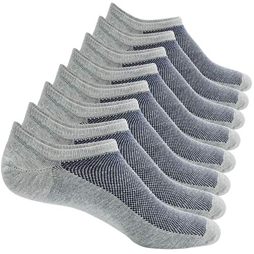 8 Pairs No Show Socks Men Low Cut Non-Slip Invisible Casual Loafer Boat Socks (Grey, S/M(US Men Shoes Size 6-11))