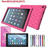 "EpicGadget Case for Amazon Fire HD 8 2018/2017 Silicone (8th and 7th Generation, 2018 and 2017 Release) Slim Anti-Slip Soft Rubber Silicone Gel Case Cover For Fire HD 8, 8"" HDTablet (Hot Pink)"