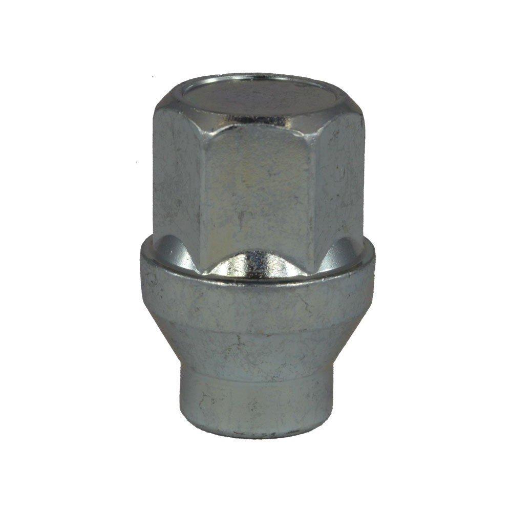 Écrou de roue fermé à collerette M12x1.5, Clé 19, Longueur 34 mm, Blanc galvanisé, 4 pcs