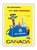 Canada - Air Canada TCA (Trans-Canda Air Lines) - Vintage Airline Travel Poster by Roberto Floreani c.1960 - Master Art Print - 9in x 12in