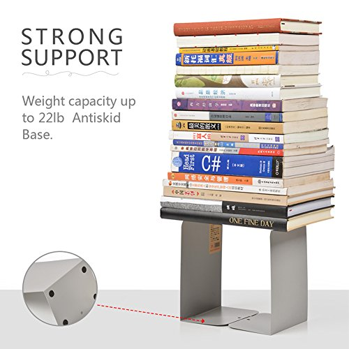 HaloVa Bookends, Decorative Universal Heavy Metal Book Organizers, Durable Nonskid Bookshelves for Home Office School Study Desk Books Storage, 2 Pairs, Large, Gray by HaloVa (Image #3)