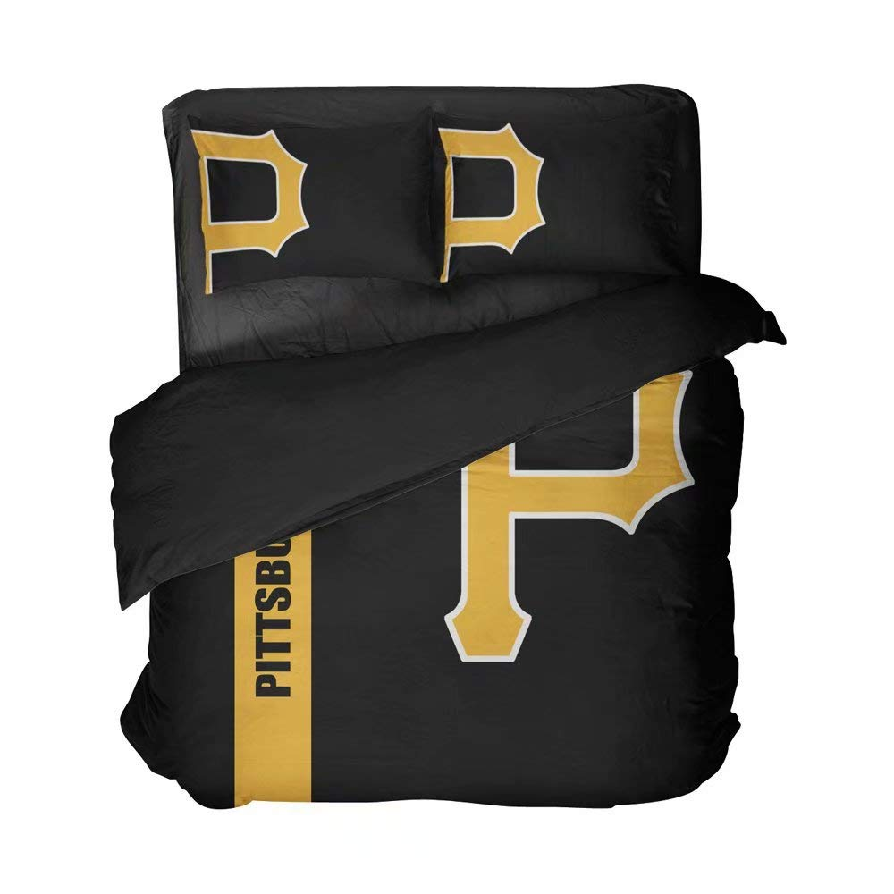 Maspt Baseball Bedspread Sets Pittsburgh Bed Set Clear Pattern of A Capital Letter P Duvet Cover Sets Queen Size(Twin 3pcs)