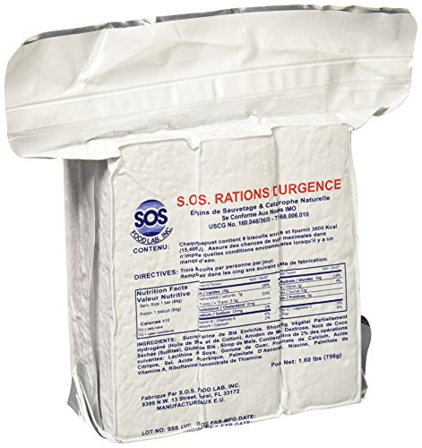 3600 Food Emergency (S.O.S. Rations Emergency 3600 Calorie Food Bar - 3 Day / 72 Hour Package with 5 Year Shelf Life Net wt. 1.60lbs (756g))