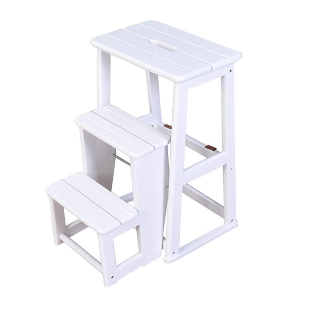 折りたたみ3ステップスツールラダー、家庭用階段の椅子キッズ&大人のためのオークの木の踏み台、軽量ホームガーデンツールヘビーデューティマックス。ホワイトで150kg B07M8L43YC
